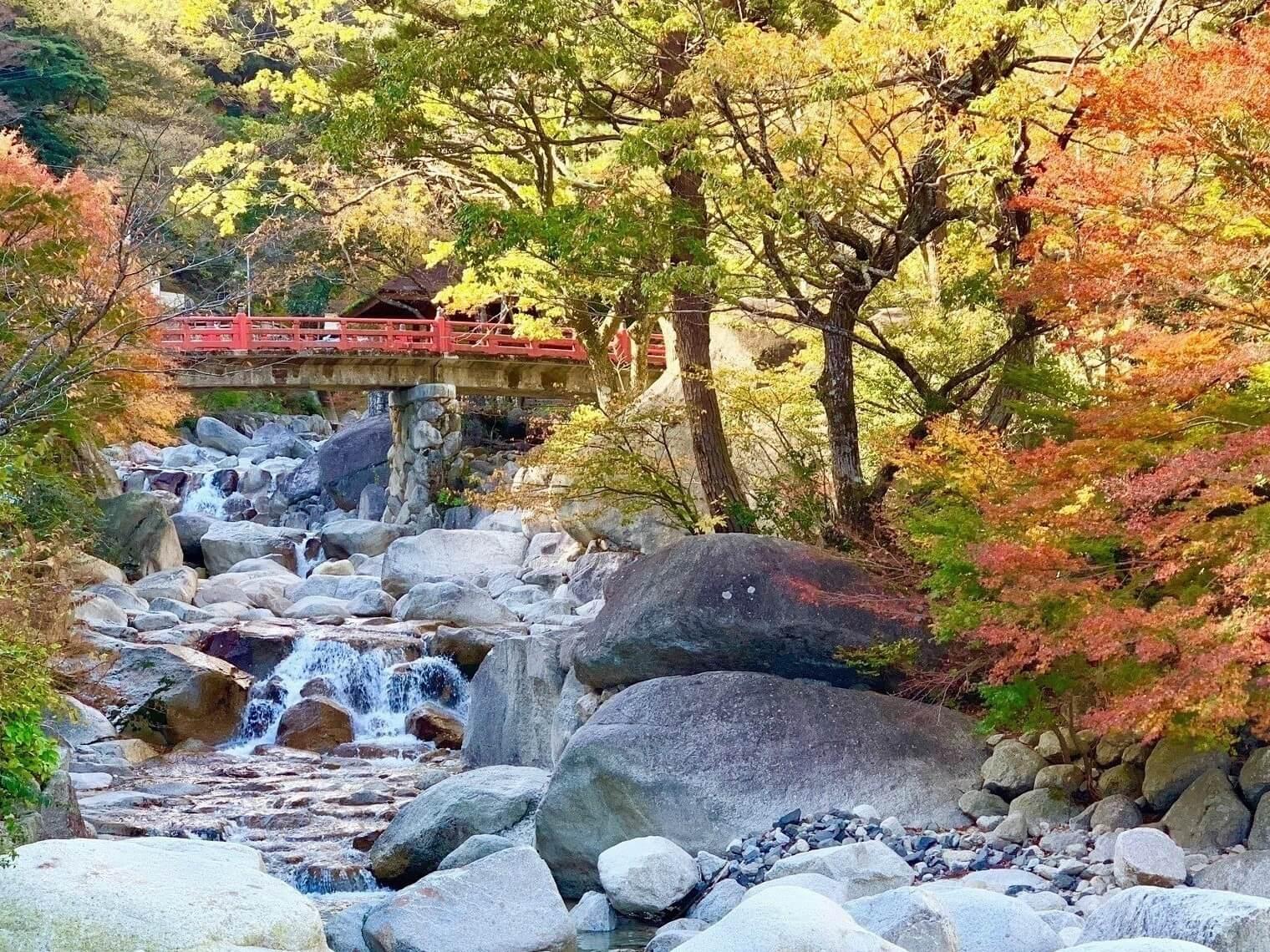 紅葉の湯の山温泉 大石公園